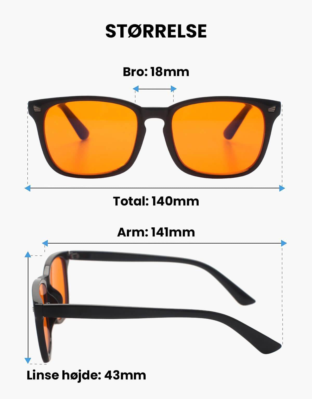 Twilight Blue Light brille produkt størrelse